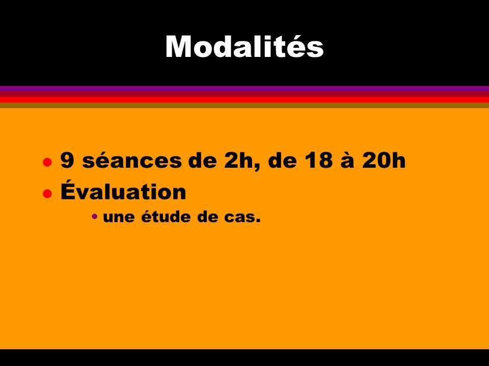 Modalités 9 séances de 2h, de 18 à 20h Évaluation une étude de cas.