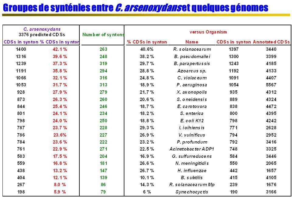 Groupes de synténies entre C. arsenoxydans et quelques génomes