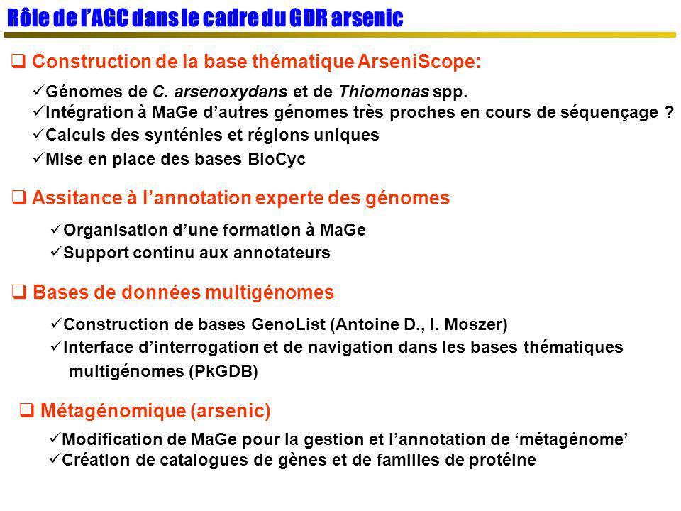 Rôle de l'AGC dans le cadre du GDR arsenic
