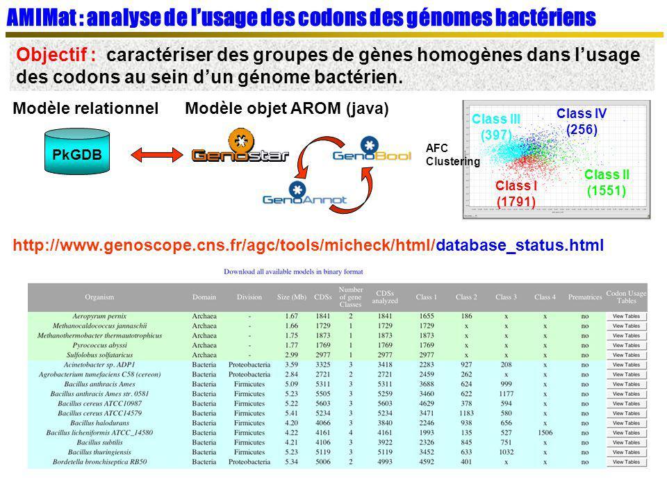 AMIMat : analyse de l'usage des codons des génomes bactériens