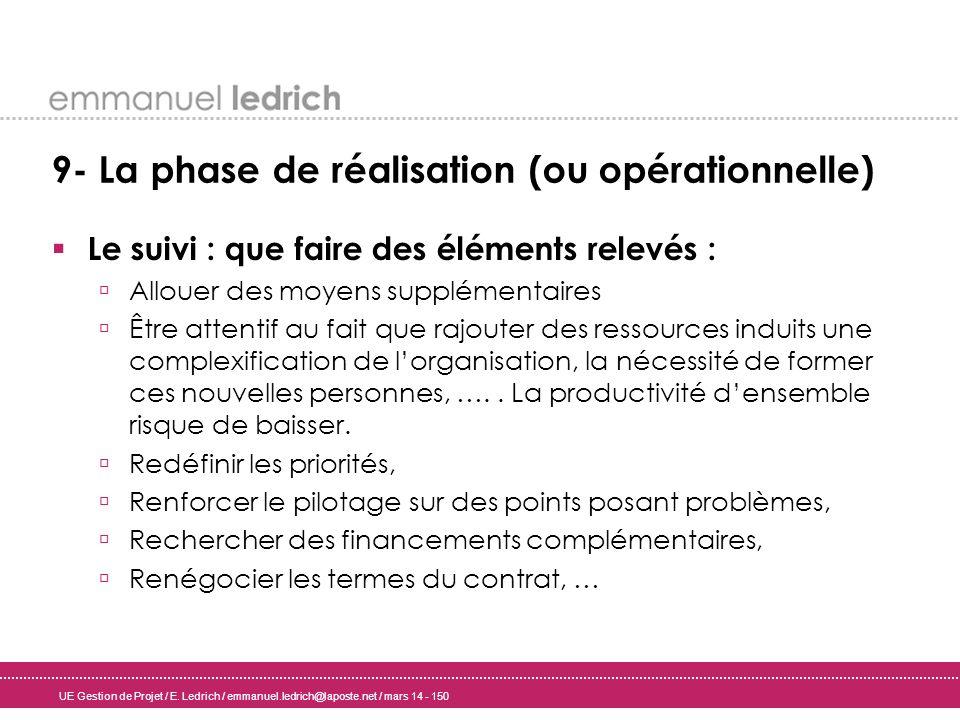 9- La phase de réalisation (ou opérationnelle)