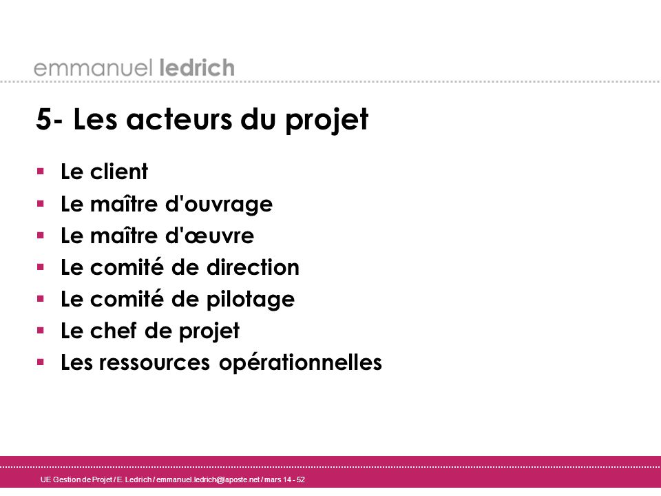 5- Les acteurs du projet Le client Le maître d ouvrage