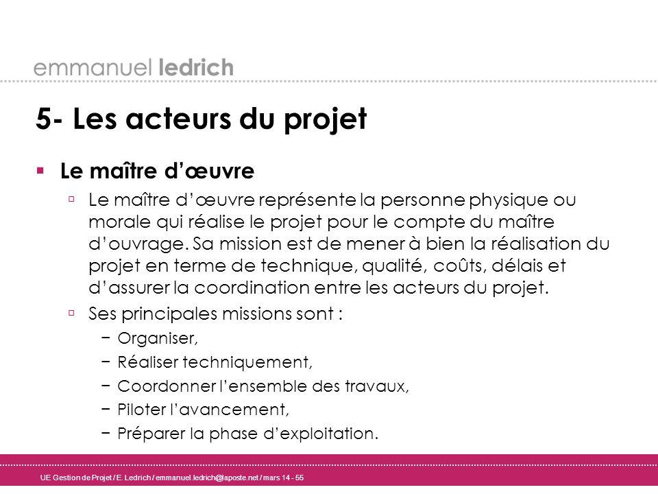 5- Les acteurs du projet Le maître d'œuvre