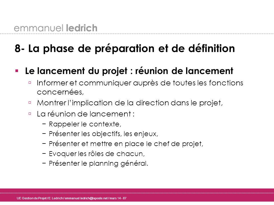 8- La phase de préparation et de définition