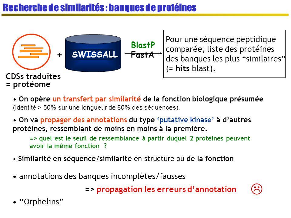  Recherche de similarités : banques de protéines +