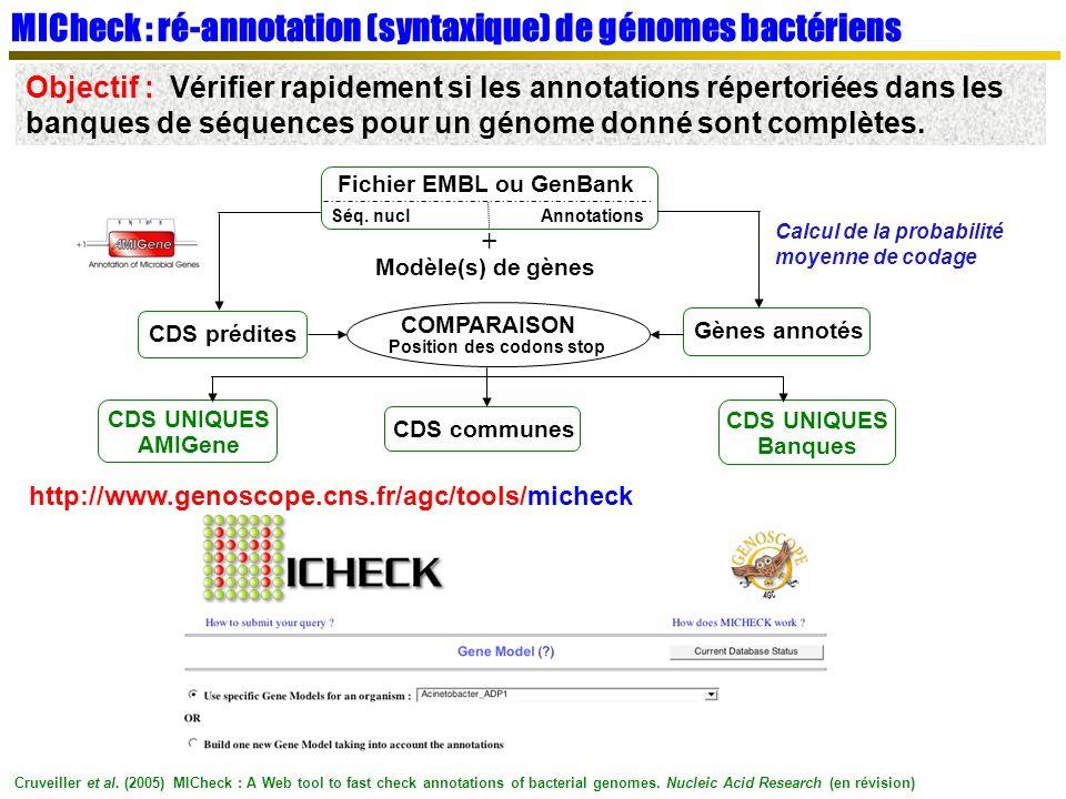 MICheck : ré-annotation (syntaxique) de génomes bactériens