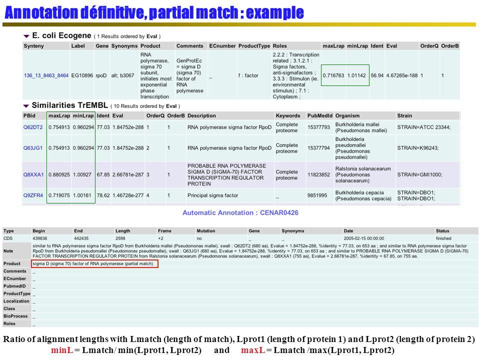 Annotation définitive, partial match : example
