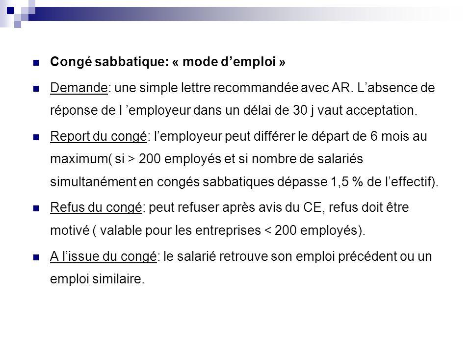 Congé sabbatique: « mode d'emploi »
