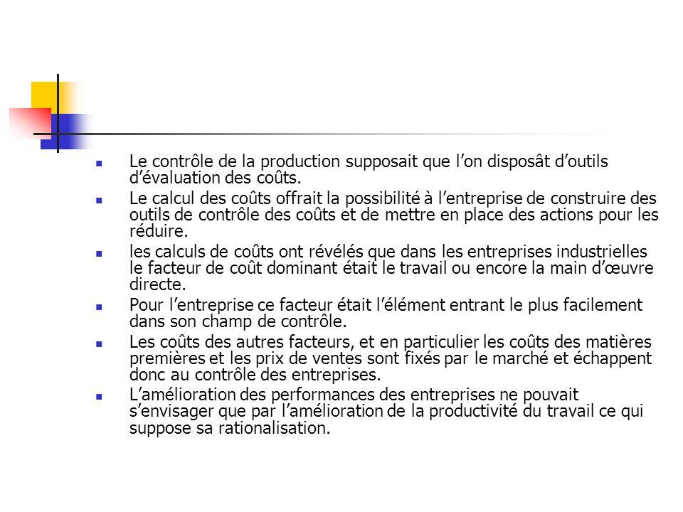 Le contrôle de la production supposait que l'on disposât d'outils d'évaluation des coûts.