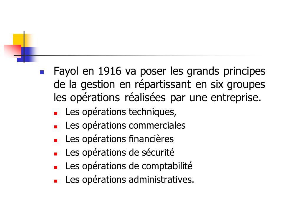 Fayol en 1916 va poser les grands principes de la gestion en répartissant en six groupes les opérations réalisées par une entreprise.