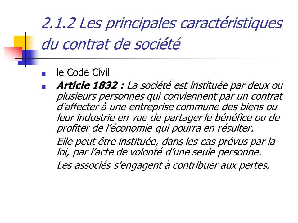 2.1.2 Les principales caractéristiques du contrat de société