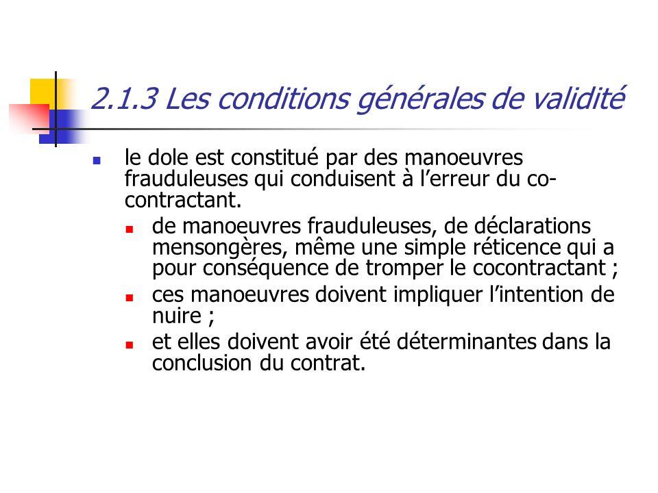 2.1.3 Les conditions générales de validité
