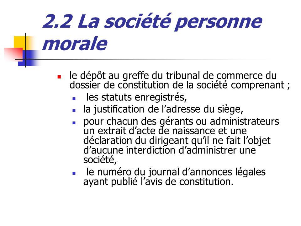 2.2 La société personne morale