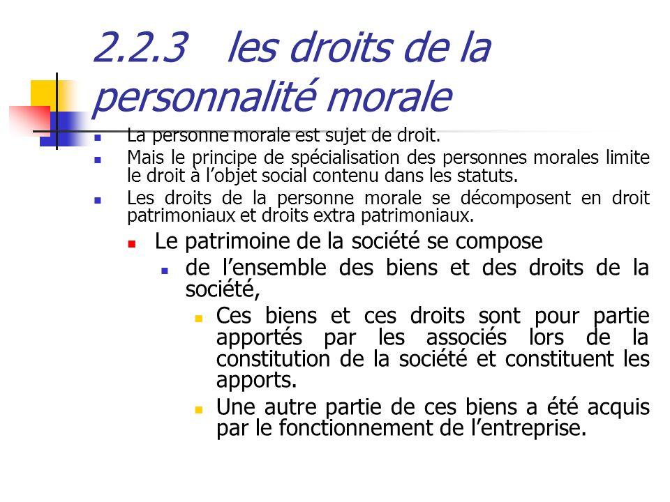 2.2.3 les droits de la personnalité morale