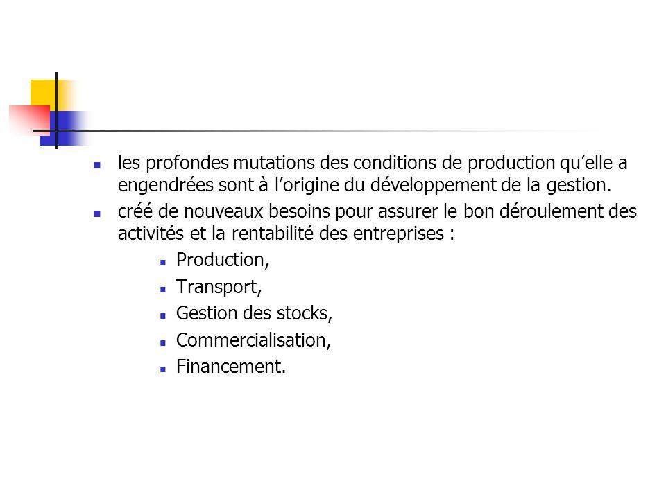 les profondes mutations des conditions de production qu'elle a engendrées sont à l'origine du développement de la gestion.