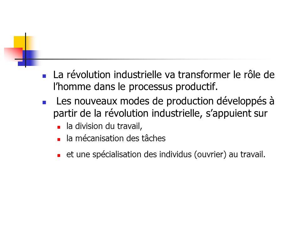 La révolution industrielle va transformer le rôle de l'homme dans le processus productif.