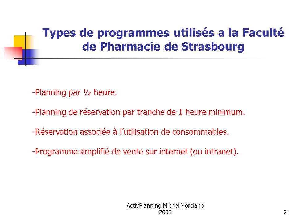 Types de programmes utilisés a la Faculté de Pharmacie de Strasbourg