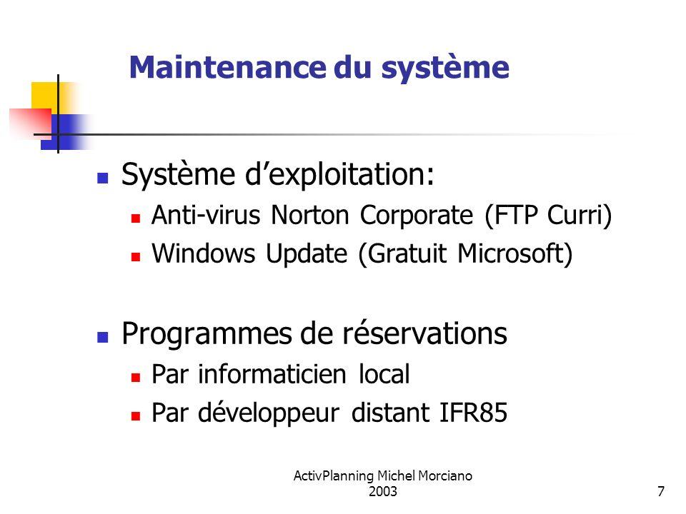 Maintenance du système