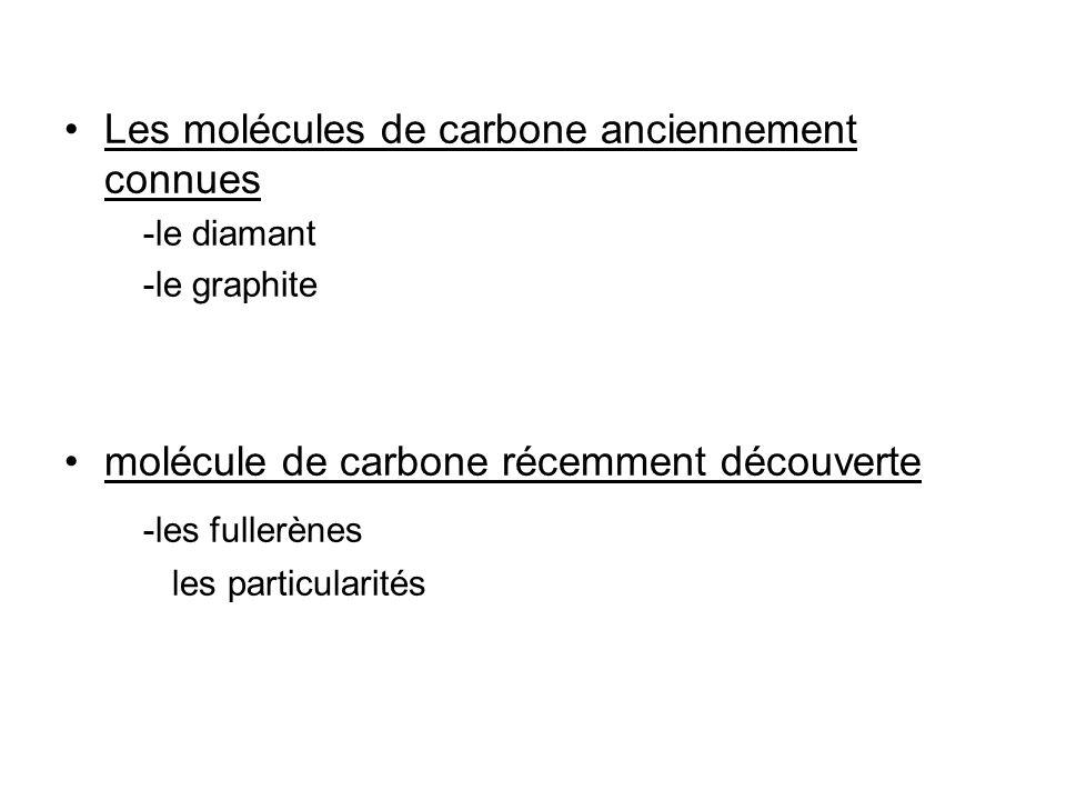 -les fullerènes Les molécules de carbone anciennement connues