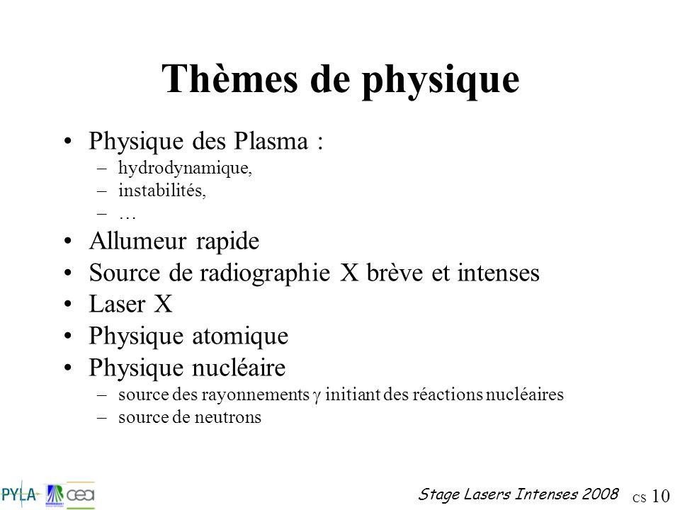 Thèmes de physique Physique des Plasma : Allumeur rapide