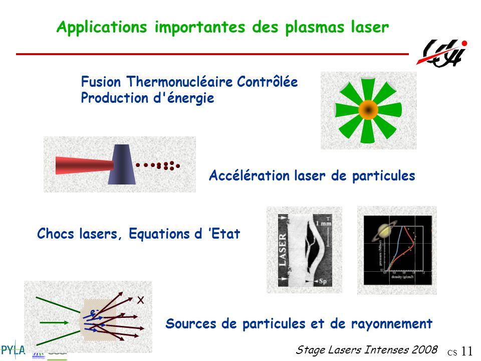 Applications importantes des plasmas laser