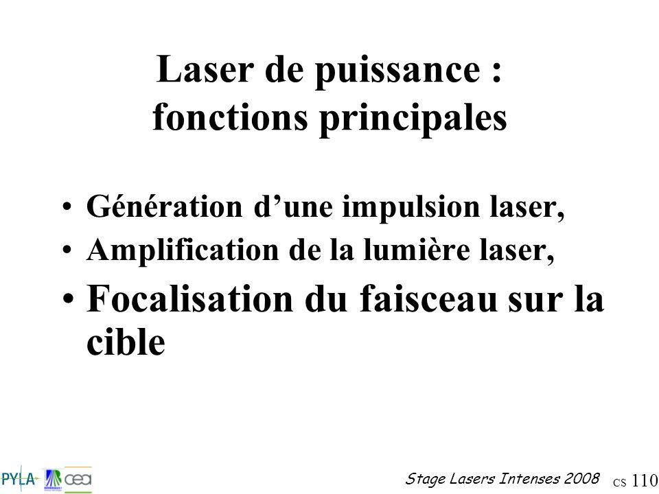 Laser de puissance : fonctions principales