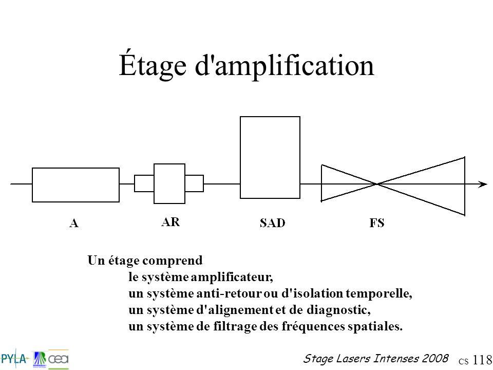 Étage d amplification Un étage comprend le système amplificateur,
