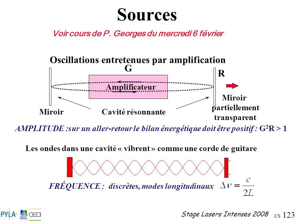 Sources Oscillations entretenues par amplification G R