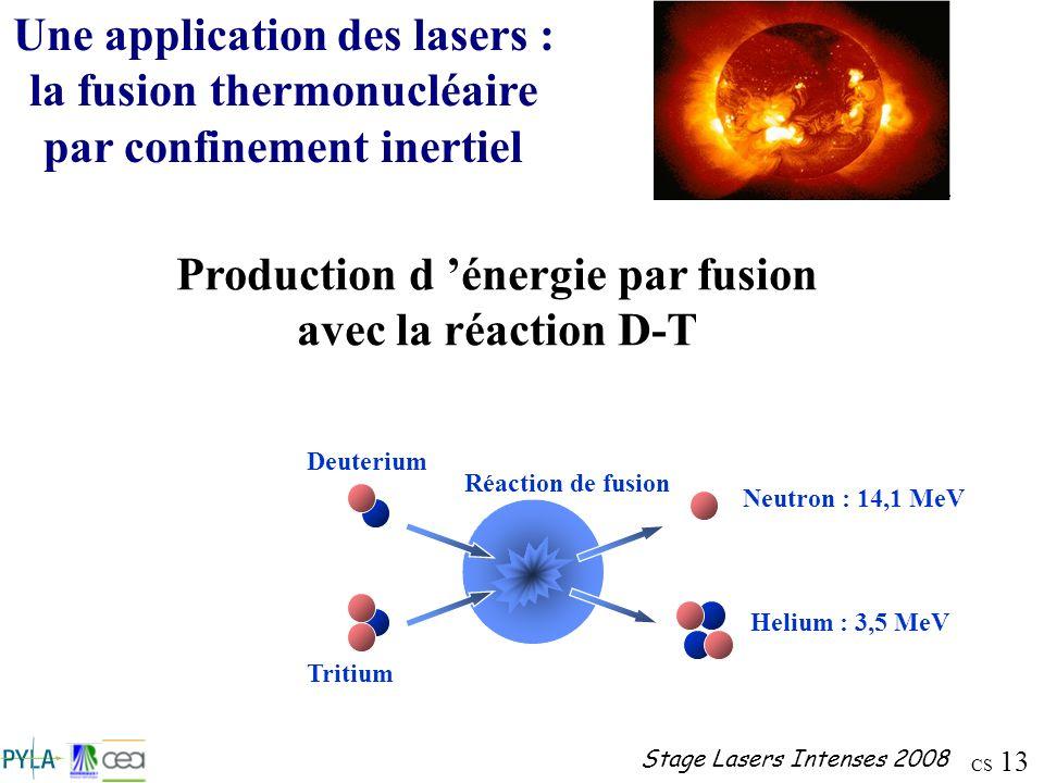Production d 'énergie par fusion avec la réaction D-T