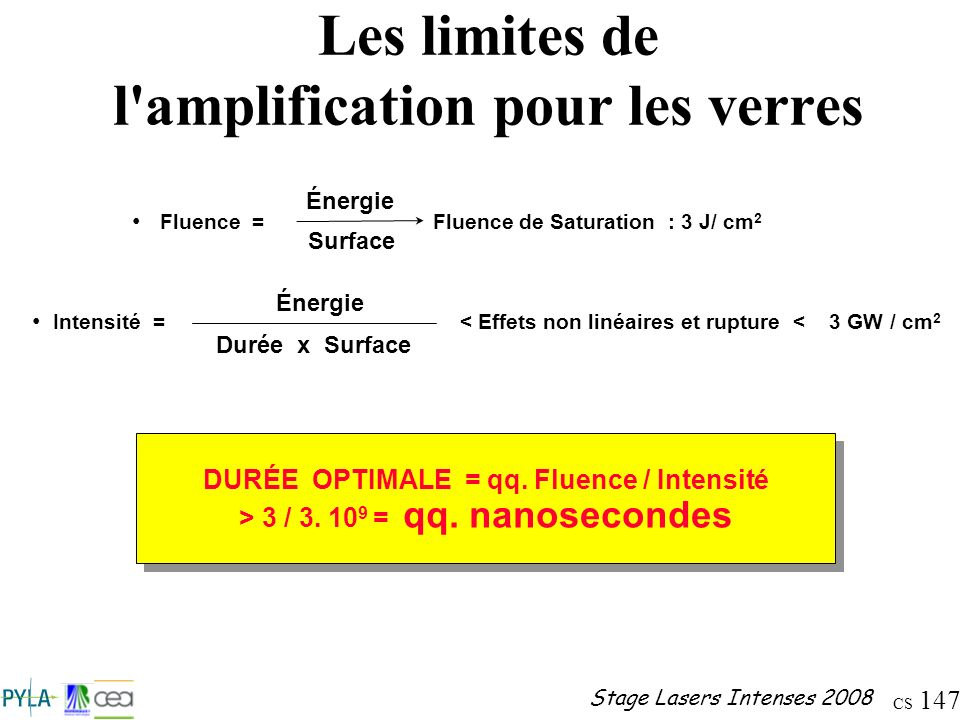Les limites de l amplification pour les verres