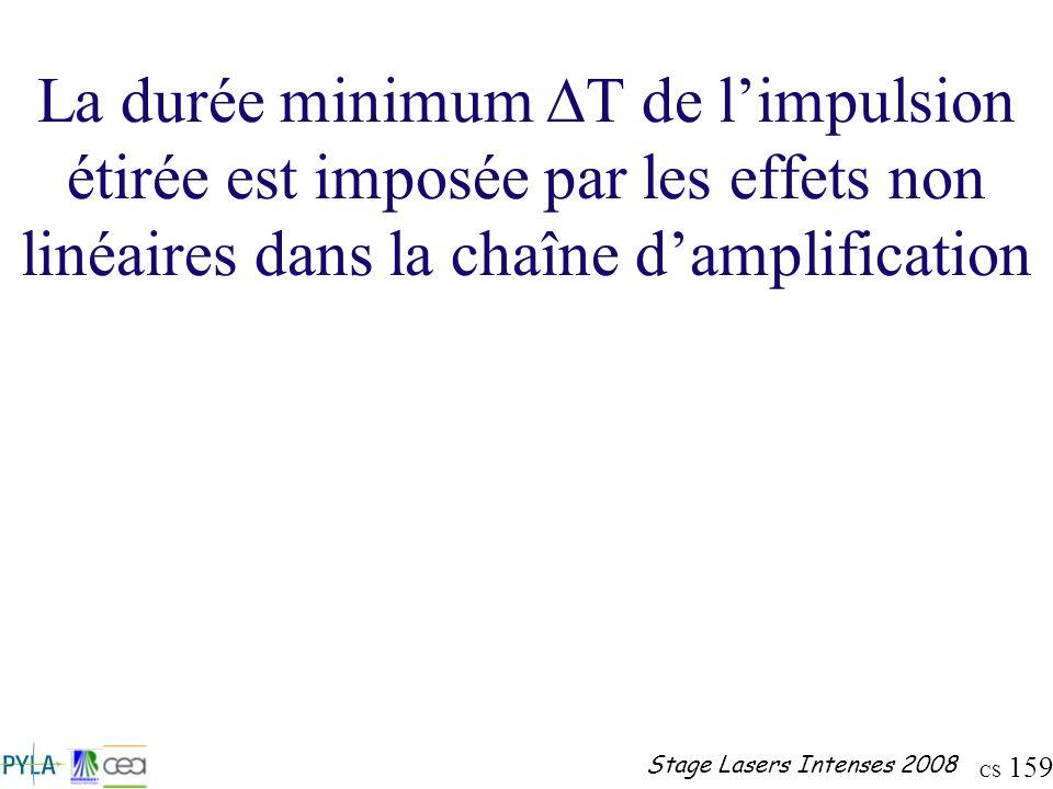 La durée minimum DT de l'impulsion étirée est imposée par les effets non linéaires dans la chaîne d'amplification