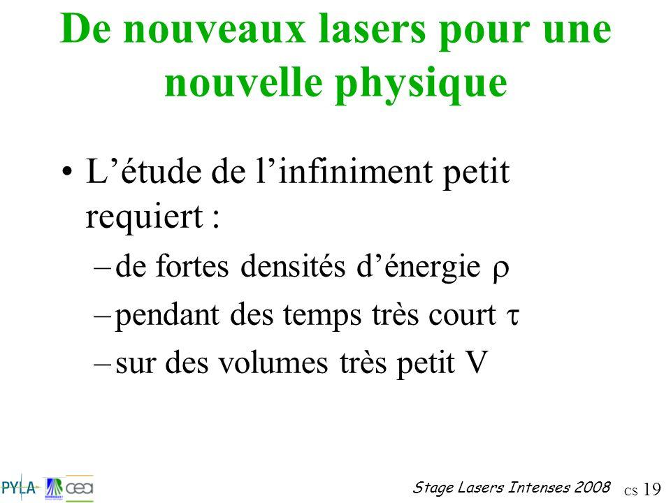 De nouveaux lasers pour une nouvelle physique