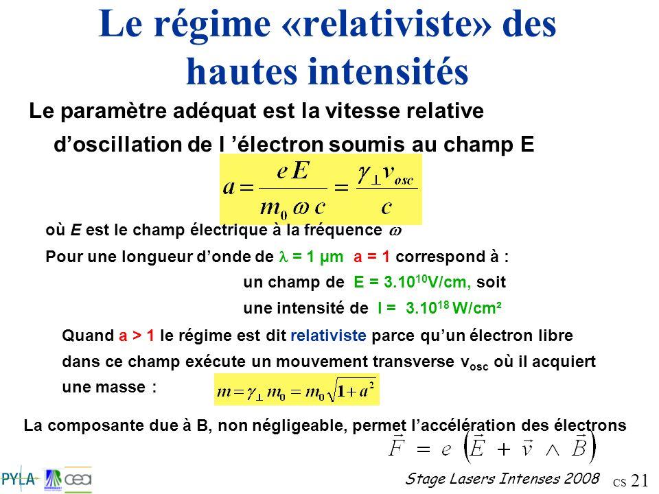 Le régime «relativiste» des hautes intensités