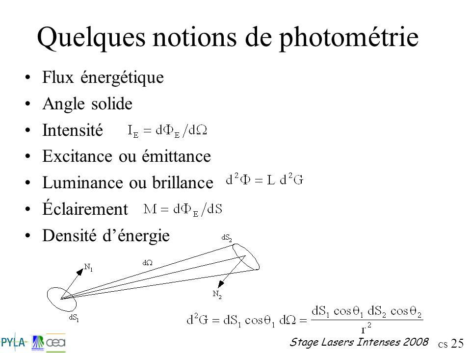 Quelques notions de photométrie