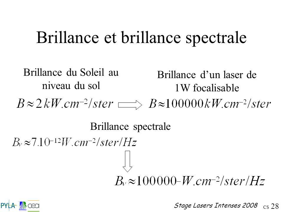 Brillance et brillance spectrale