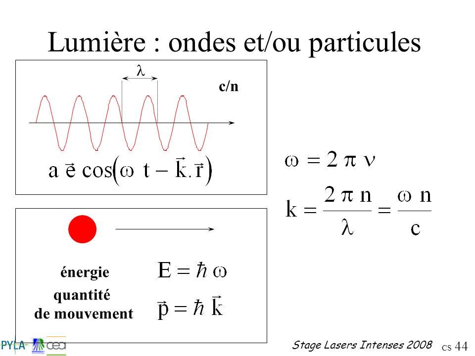 Lumière : ondes et/ou particules
