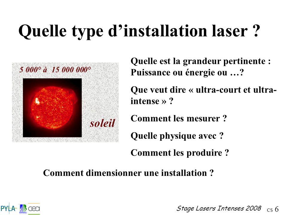 Quelle type d'installation laser