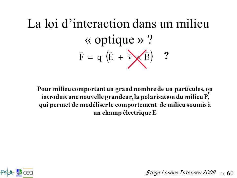 La loi d'interaction dans un milieu « optique »
