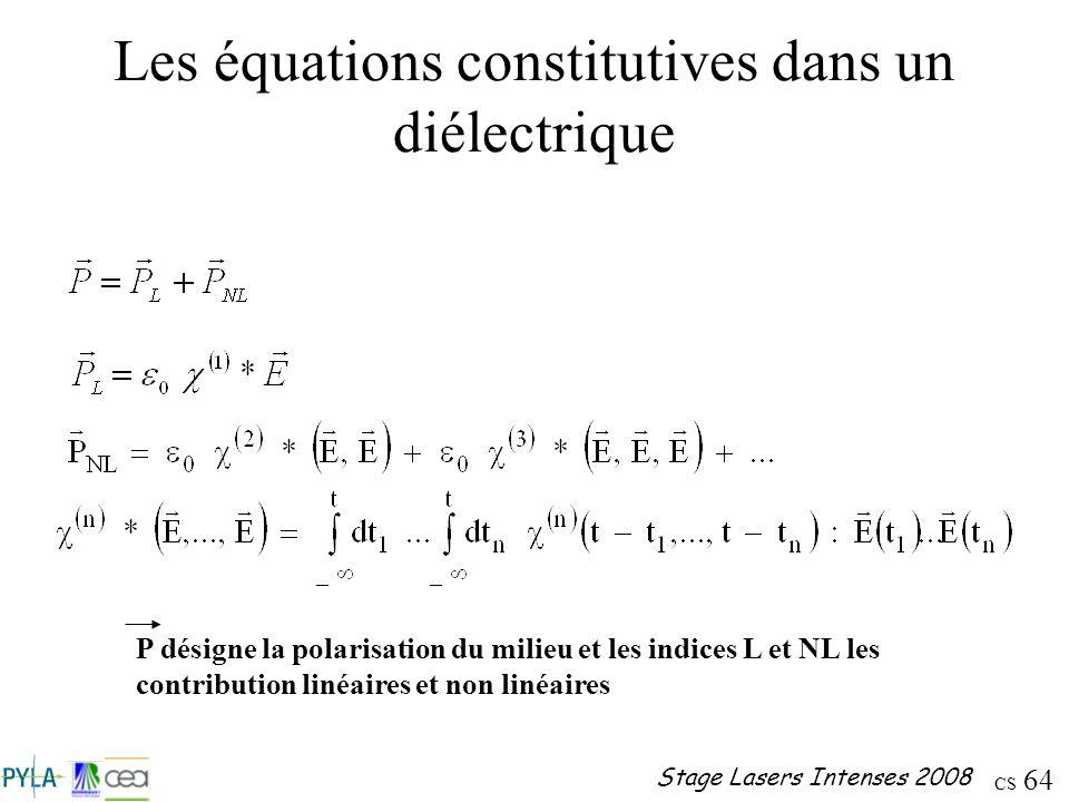 Les équations constitutives dans un diélectrique
