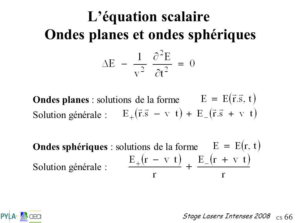L'équation scalaire Ondes planes et ondes sphériques
