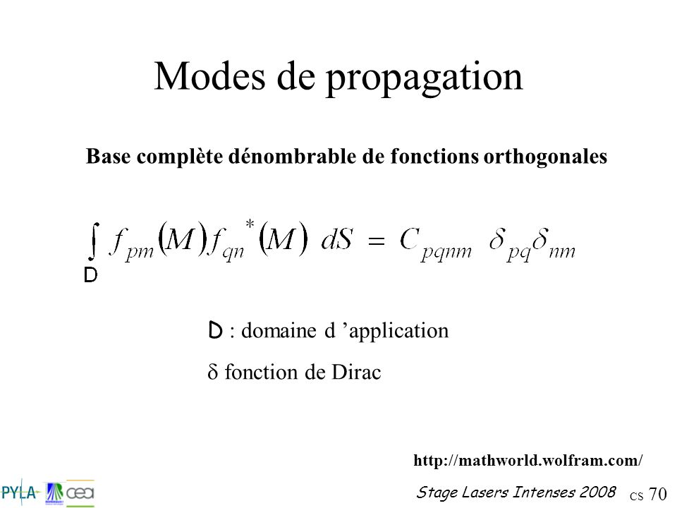 Base complète dénombrable de fonctions orthogonales