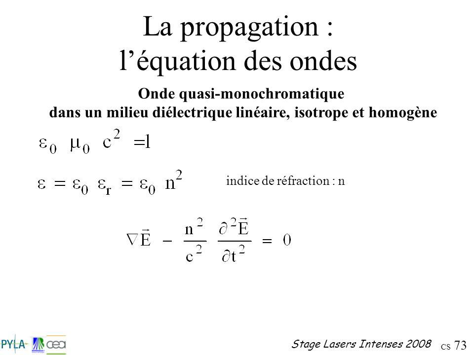 La propagation : l'équation des ondes