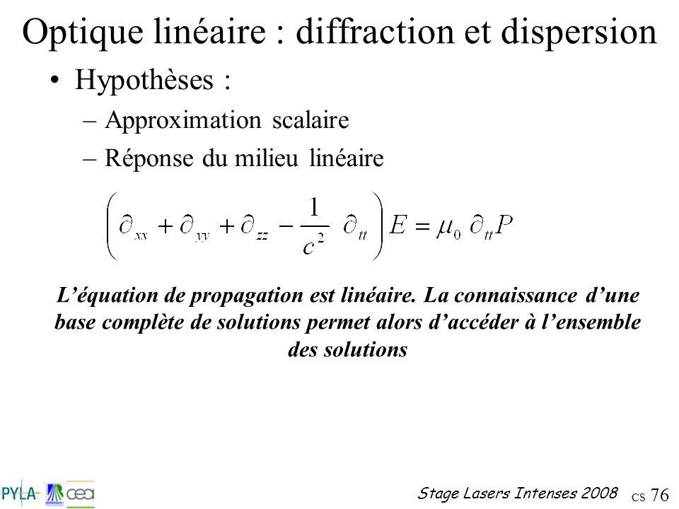Optique linéaire : diffraction et dispersion