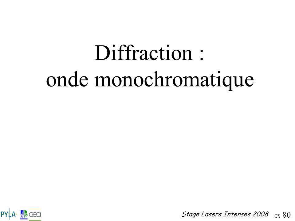 Diffraction : onde monochromatique