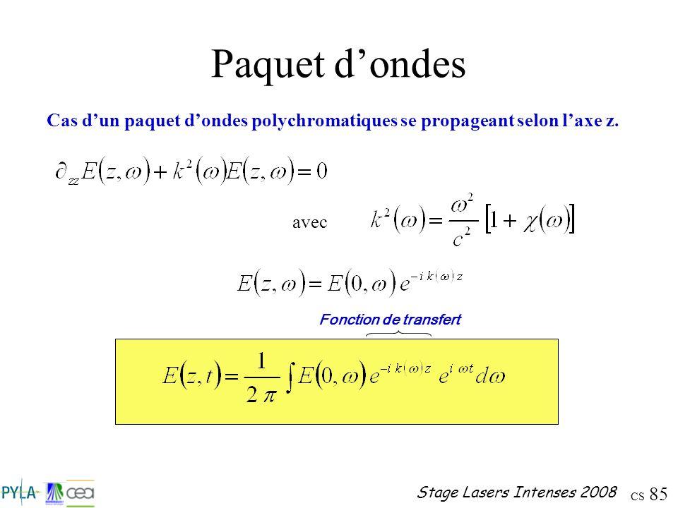 Paquet d'ondes Cas d'un paquet d'ondes polychromatiques se propageant selon l'axe z.