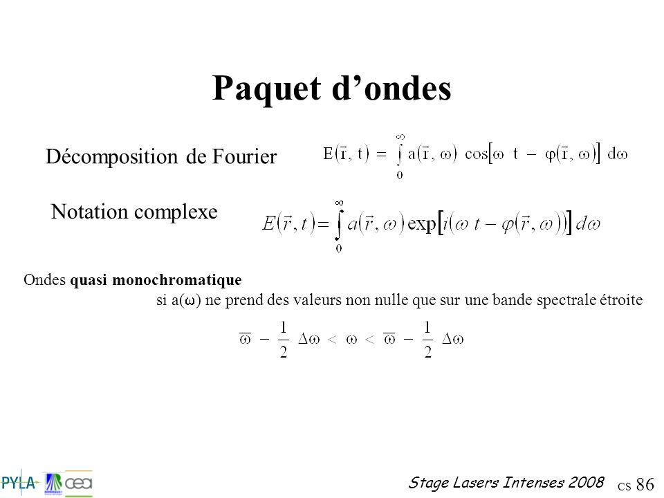 Paquet d'ondes Décomposition de Fourier Notation complexe