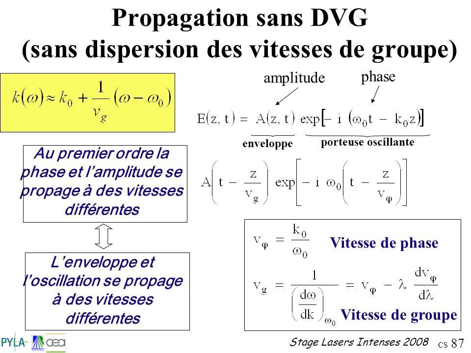 Propagation sans DVG (sans dispersion des vitesses de groupe)