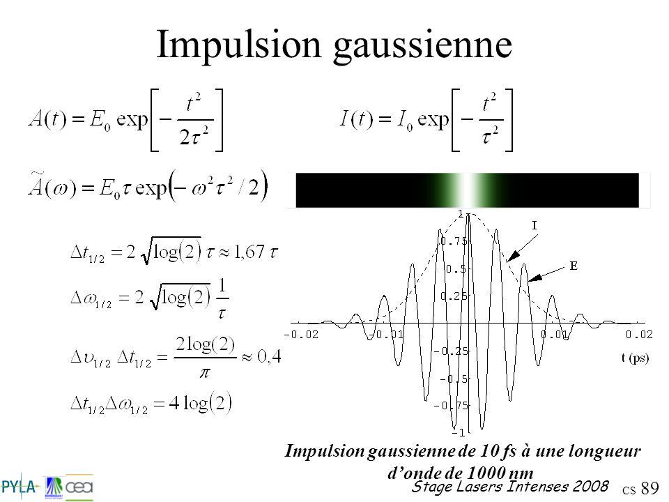 Impulsion gaussienne de 10 fs à une longueur d'onde de 1000 nm