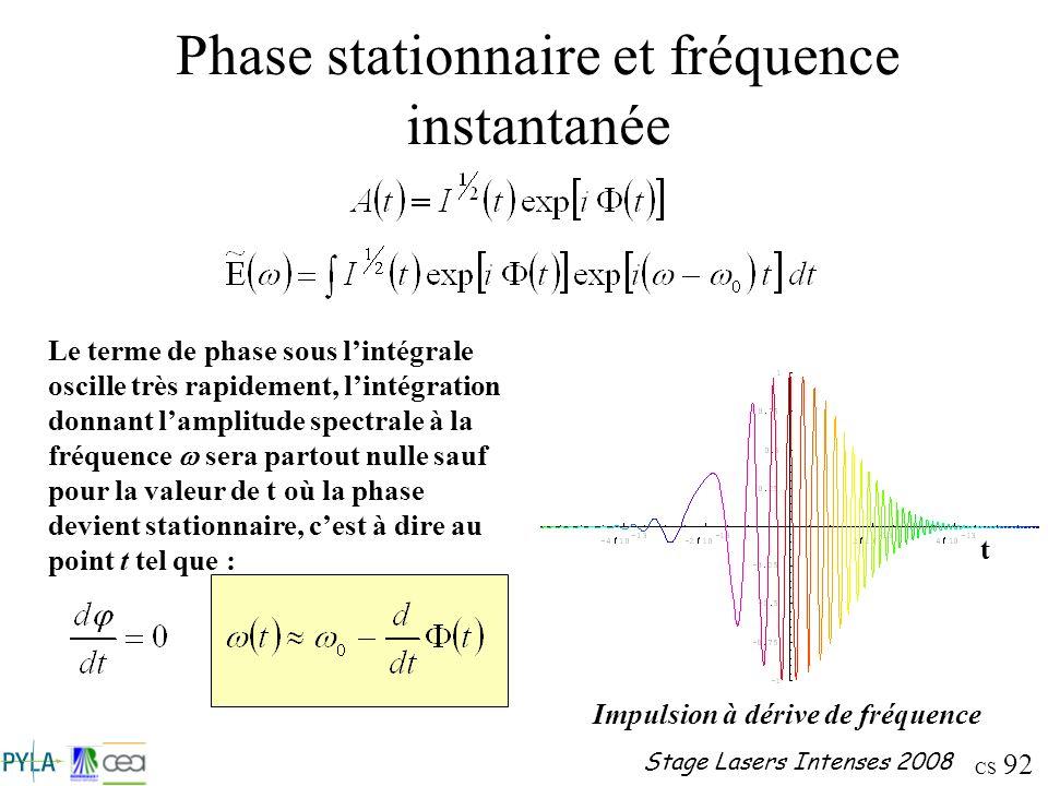Phase stationnaire et fréquence instantanée