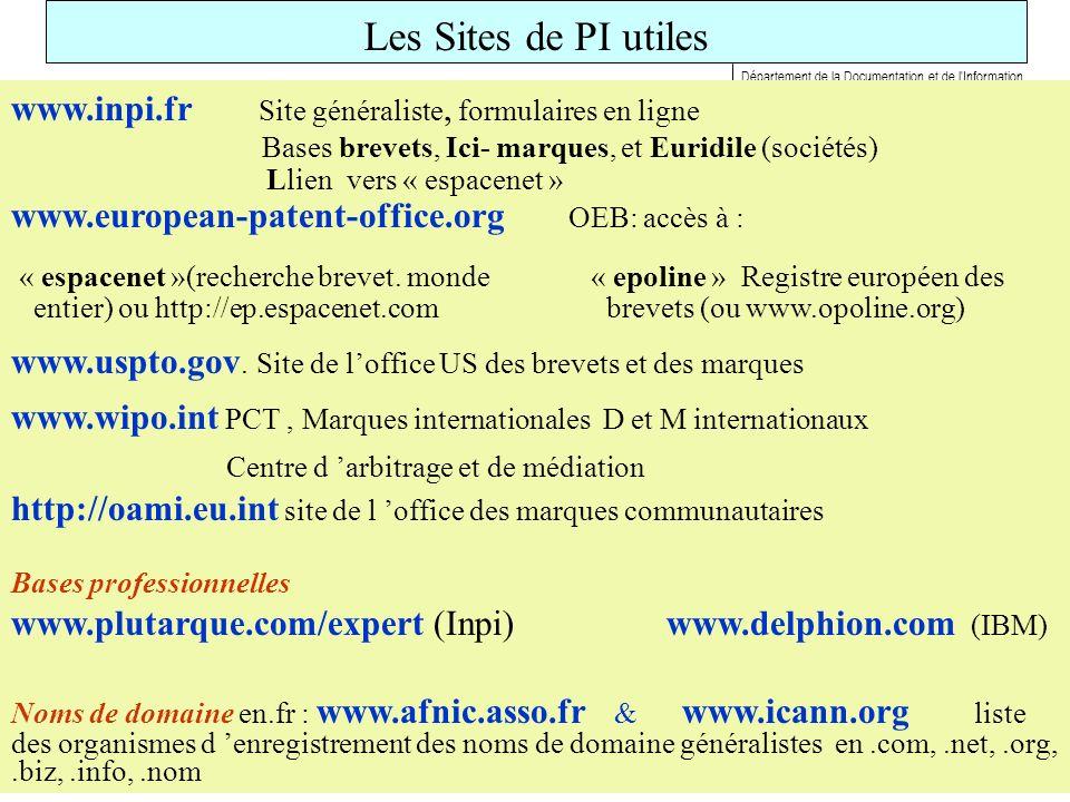 Les Sites de PI utiles www.inpi.fr Site généraliste, formulaires en ligne. Bases brevets, Ici- marques, et Euridile (sociétés)